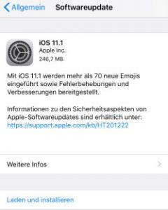 IOS 11.1 steht bereit